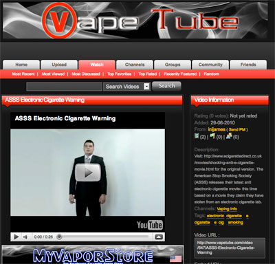 Screen shot of Vape Tibe