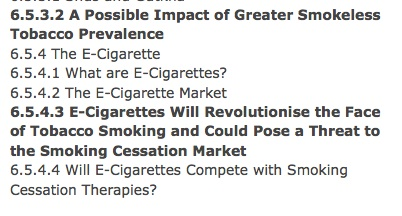 Evidence of industry fears revolving around the introduction of e-cigarettes.