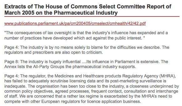 House of Commons document on the MHRA.
