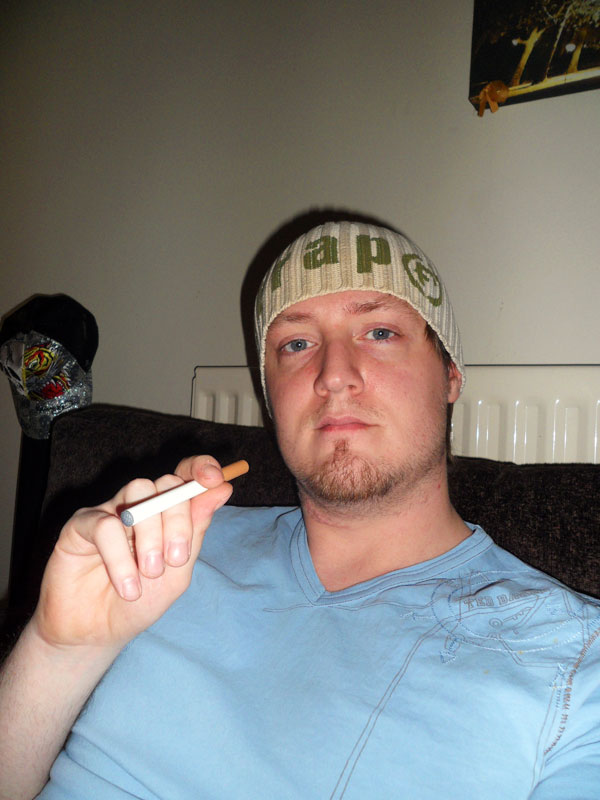 Read to Vape: DJ Beanie with a Smokers Angel electronic cigarette.