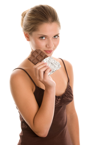 A woman holding chocolate.