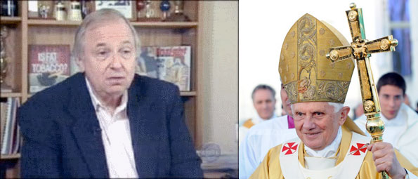 banzhaf and the Pope pictured side by side.