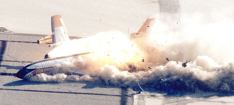 A Boing 720 burns up on a runway!