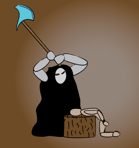 A figure in black raises an axe over another figure bent over a wooden block.