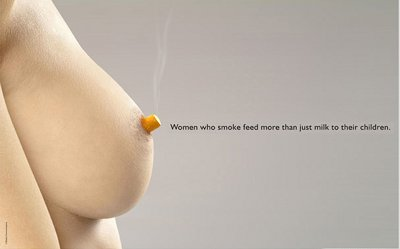 A cigarette butt replaces a nipple.