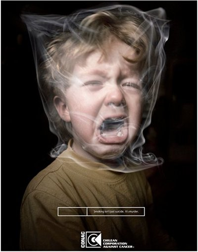 A boy appears to be covered by plastic-resembing smoke in this anti-smoking poster.