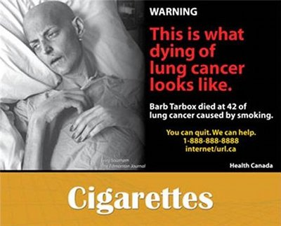 """This is what dying of lung cancer looks like,"" reads the text next to this victim of the disease."