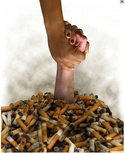 A hand grasps the hand of a smoker submerged by a pile of stinking cigarette butts.