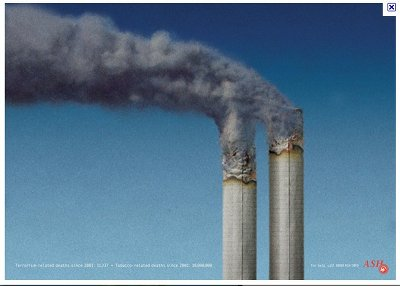 Burning cigarettes represent the twin towers of the WTC in this ASH anti-smoking ad.