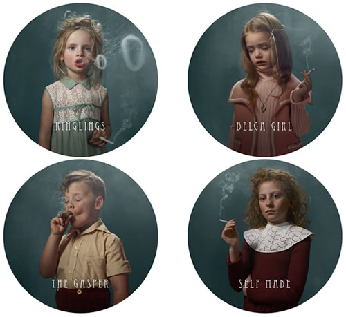 Pictures of children smoking.