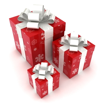 Christmas presents wrapped in red.