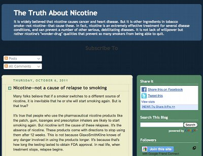 Screenshot of the truth about nicotine.