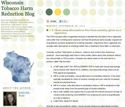 Screen shot from Wisconsin Tobacco Harm Reduction Blog.