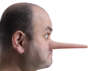 A growing nose signifying the lies being told about the effectiveness of cessation aids.