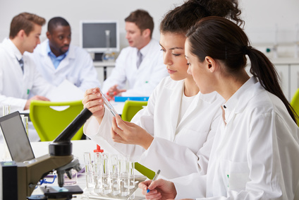 Scientists at work in a lab.