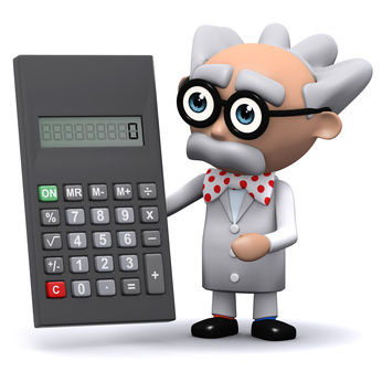 Professor with calculator.