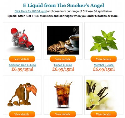 A range of e-liquids from The Smoker's Angel.