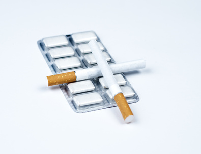 Nicotine cessation aid with cigarettes.