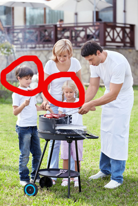 Family barbecue, with children circled in red.