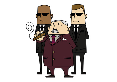 A tobacco executive holding a cigar and flanked by two bodyguards.