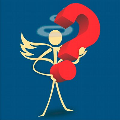 The Smoker's Angel holding a question mark.