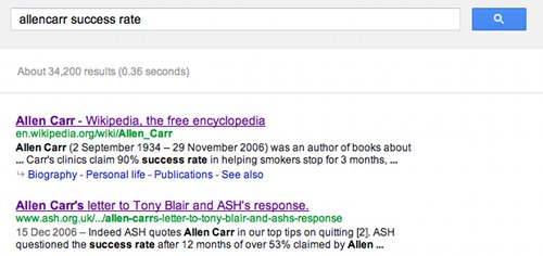 Screen grab of search results showing Ash's attack on Allen Carr.