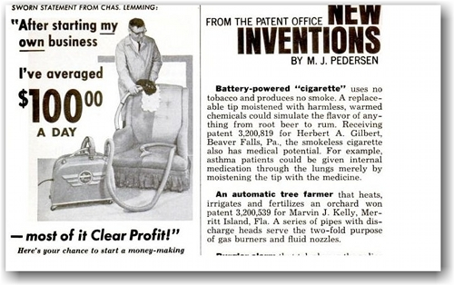 Patent advert for the first electronic cigarette.