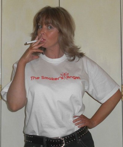 Claire smoking a smoker's angel t-shirt.