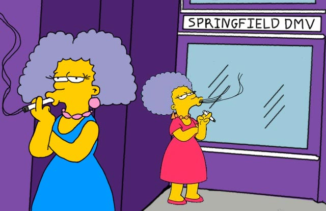 Simpsons sister's smoking.