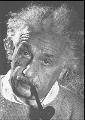 Einstein picture with pipe in mouth.