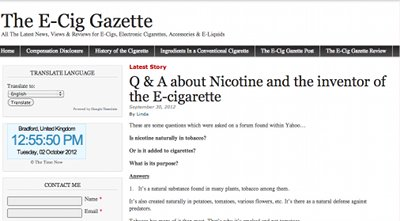 E Cig Gazette screenshot.