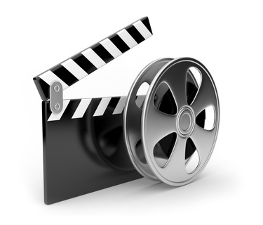 Film and  clap board movies symbol 3d.