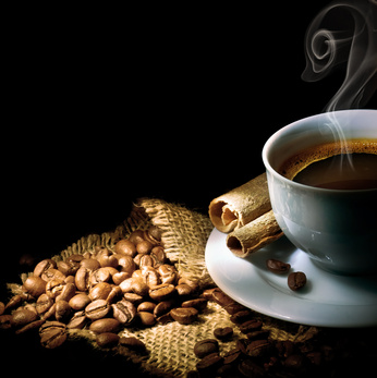 Coffee pictured with coffee beans.