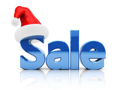 3D image of sale with xmas hat hung over the S.