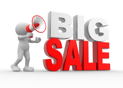 3d people, person with a megaphone and text Big Sale
