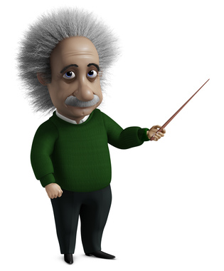 Cartoon of Einstein holding a ruler.