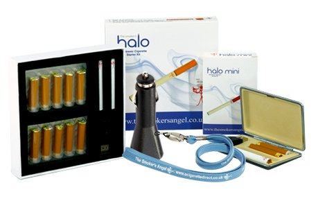 Shows a smoker's halo kit with mini kit, charger and lanyard.