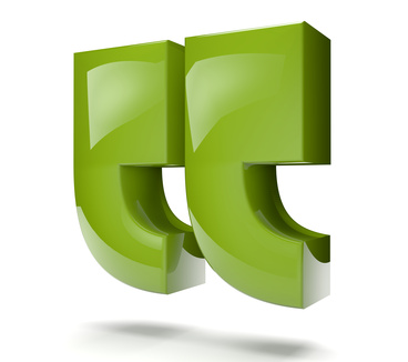 Large green 3d inverted commas.