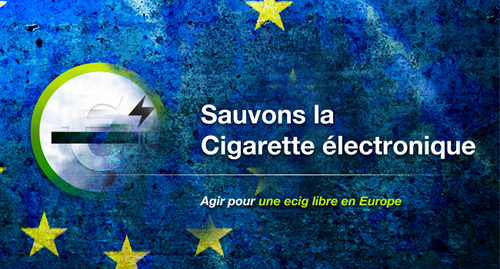 "Image saying in French: ""fight for a free ecig in Europe."""