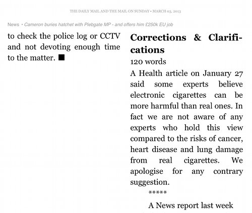 Screenshot from Kindle app showing Daily Mail apology.
