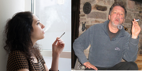 Pictures of a young woman smoking and a man blowing vapour rings.