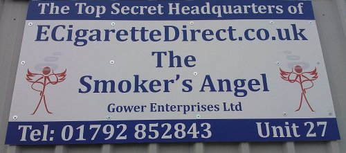 Sign saying the Top Secret headquarters of ECigaretteDirect, The Smoker's Angel.