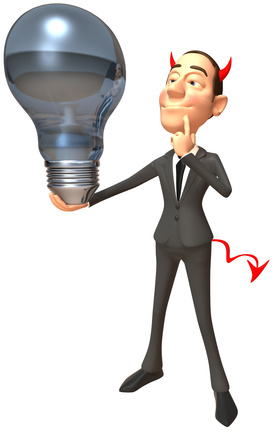 Man with devil's horns and tails holds a light bulb.