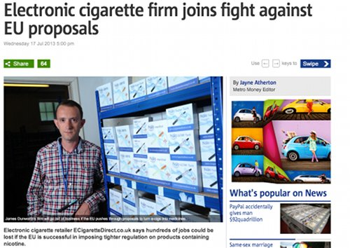 Metro story on ECigaretteDirect