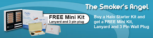 Free mini electronic cigarette kit, lanyard and 3 pin plug with every smoker's halo kit.