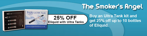 Get 25% off eliquid when you buy an Ultra Tank kit.