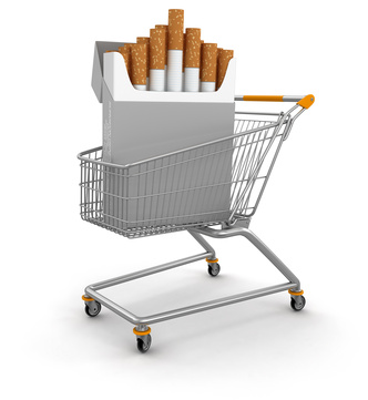 Pack of cigarettes in a shopping cart.