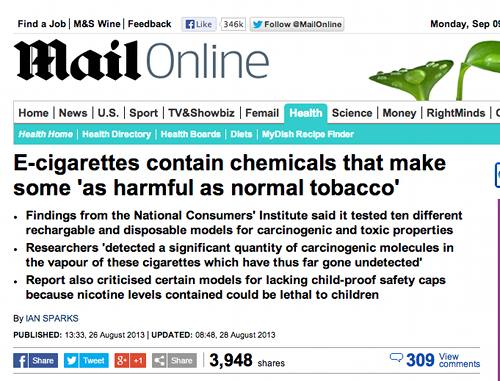 Daily Mail Headline on French Vaping Study