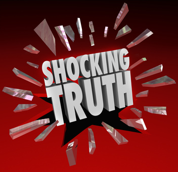 The words shocking truth displayed on a red background.