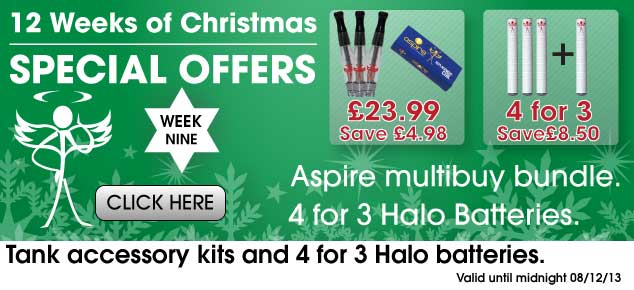 Aspire Multi-Buy Bundle: 4 for 3 Halo Batteries.